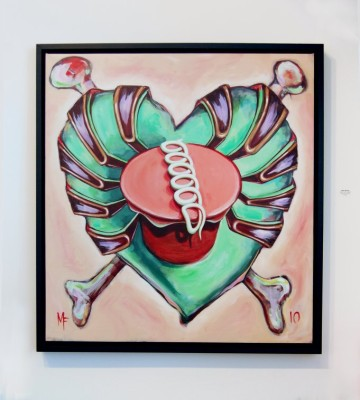 "Sweet Heart (green) acrylic on canvas 40"" x 40"""