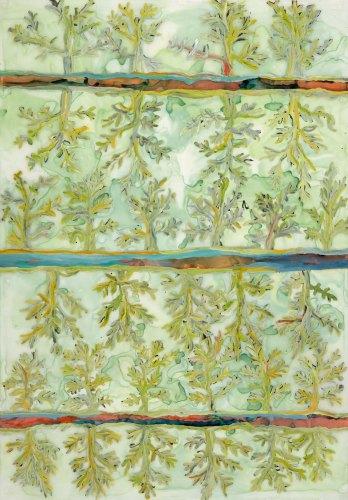 """Mary Barnes Trees mixed media on mylar 42"""" x 50"""""""