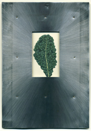 "Willy Reddick, Tuscan Kale, acrylic on paper, tin, brass rivets, 5.5"" x 8"""