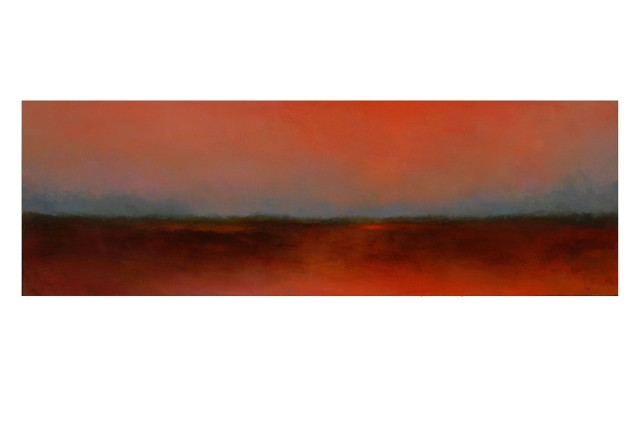 "Rachael Eastman Silence 2 oil on canvas over box panel 12"" x36"""