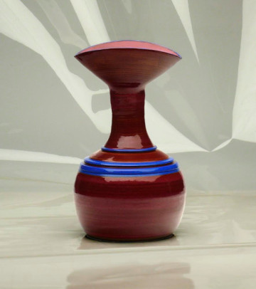 "Jemma Gascoine, Blue Lips Vase, 7"" x 13.5"""