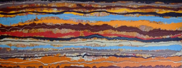 "Eric Leppanen, Seismic, old paint on reclaimed panel door, 36"" x 78"""