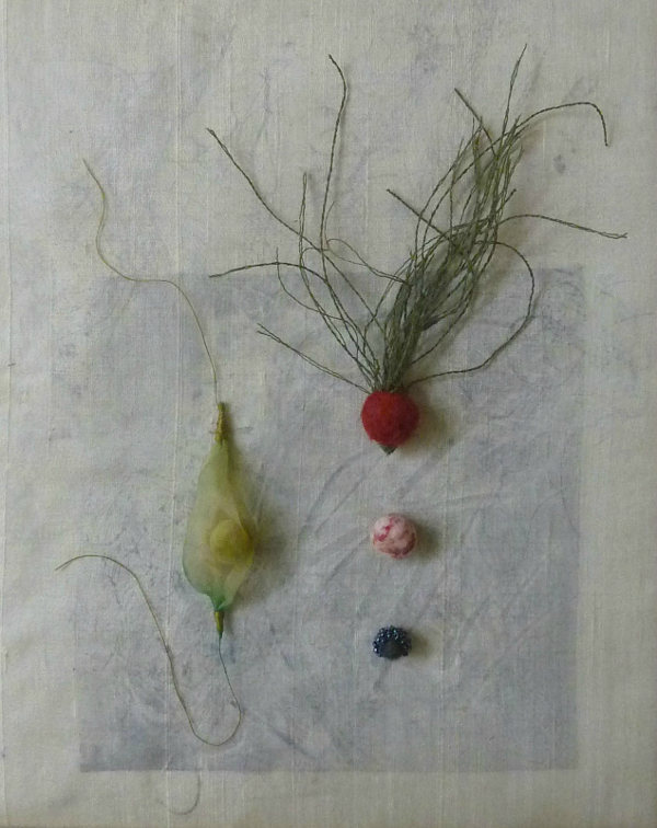 "Specimen J30-4, linen, silk, glass beads, monoprint, 8"" x 10"""